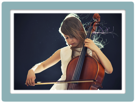 Cello Girl w:blue boarder